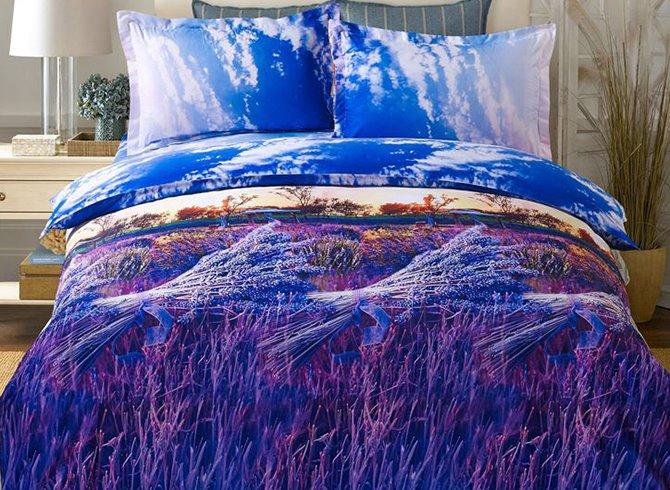 Purple Lavender Print 4-Piece Duvet Cover Sets