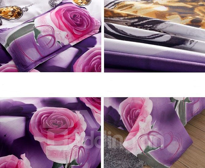 Roses Print Noble Purple 4-Piece Duvet Cover Sets