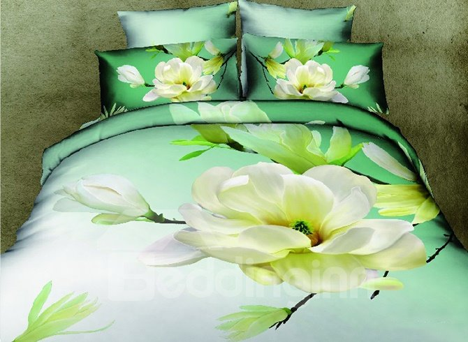 Graceful Fragrant Gardenia Print Green 4-Piece Duvet Cover Sets