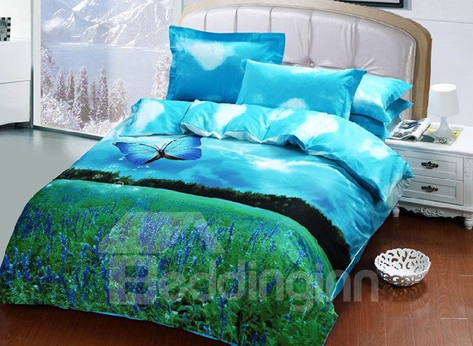 Lavender Blue Butterfly Print 4-Piece Cotton Duvet Cover Sets