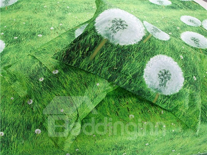 White Dandelions Refreshing Green 4-Piece Cotton Duvet Cover Sets