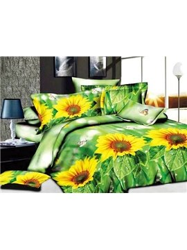 Fresh Sunflowers Butterflies Print Green 4-Piece Duvet Cover Sets