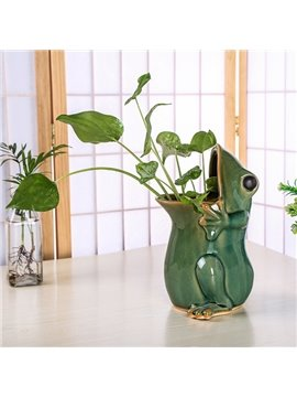 Creative Ceramic Frog Design Pen Holder Flower Vase Desktop Decoration