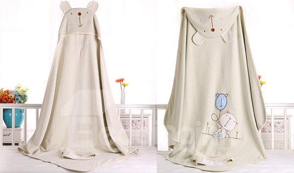 Lovely Bear Natural Colored Cotton Baby Blanket