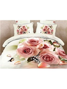 Pink Rose and Butterfly Print 4-Piece Cotton Duvet Cover Sets