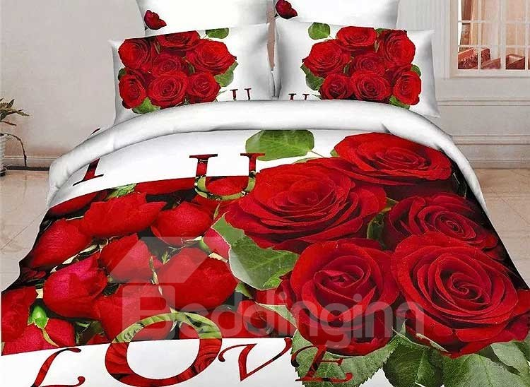Pretty Red Rose Print 4-Piece Cotton Duvet Cover Sets 11470439