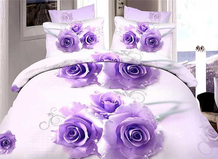 Brilliant Purple Rose Print 4-Piece Duvet Cover Sets