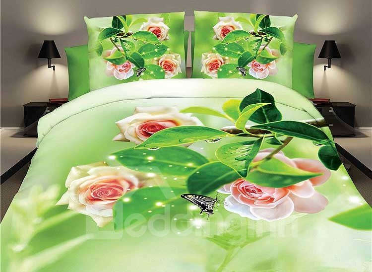 Shining Pink Rose and Black Butterfly Print 4-Piece Duvet Cover Sets