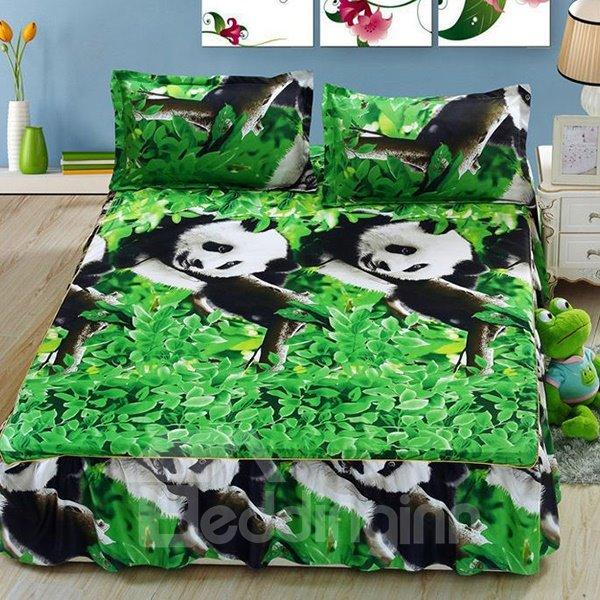Cute Pandas on Tree Print Cotton Bed Skirt