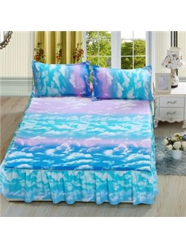 Gorgeous Blue Clouds Print Cotton Bed Skirt