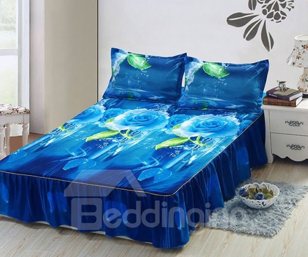 Dewy Blue Rose Print Soft Cotton Bed Skirt
