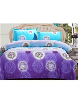 Flying Dandelion Print Full Cotton 4-Piece Duvet Cover Sets