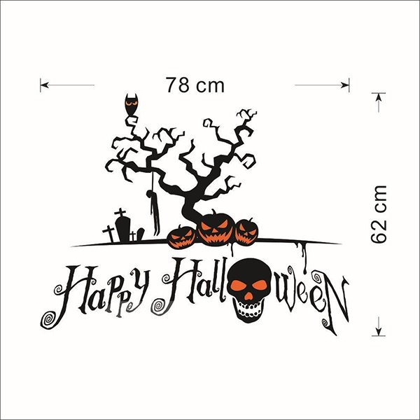 Happy Halloween Festival Decoration Skull and Pumpkin Removable Wall Sticker
