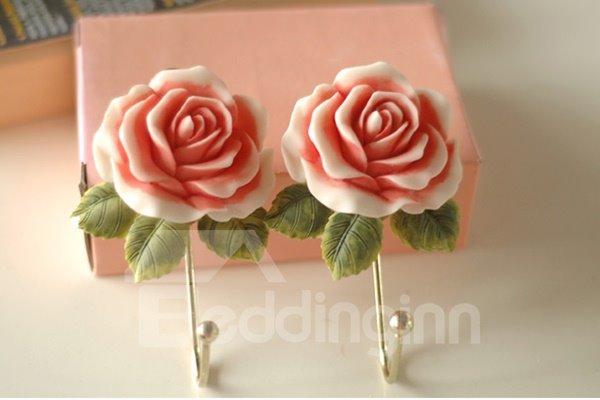 Decorative Resin Rose Design 1-Hook Wall Hook