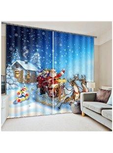 Lovely Santa Claus Christmas Theme 3D Printing Polyester Curtain