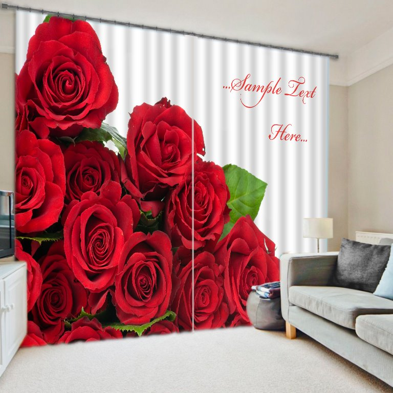 Romantic Red Roses Printing 3D Polyester Curtain 11473618