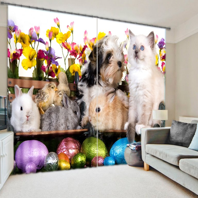 Lovely Animals Print 3D Blackout Curtain