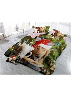 Pup Wearing Christmas Hat Print Satin Drill Green 4-Piece Christmas Duvet Cover Sets