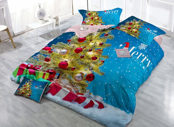 Christmas Tree Snowflakes Print Satin Drill 4-Piece Christmas Duvet Cover Sets