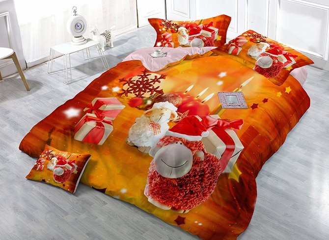 Christmas Gift Sheep and Candles Print Satin Drill 4-Piece Christmas Duvet Cover Sets
