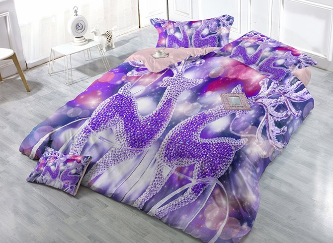 Dreamlike Purple Reindeer Print Satin Drill 4-Piece Christmas Duvet Cover Sets