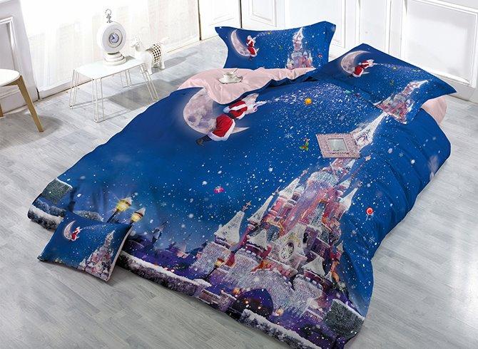 Santa Claus Sitting on Moon Castle Print Christmas 4-Piece Blue Duvet Cover Sets