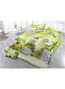 Green Christmas Snowman Digital Print Satin Drill 4-Piece Duvet Cover Sets