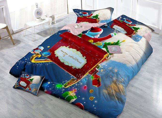 Santa Claus on Sleigh Print Satin Drill 4-Piece Christmas Duvet Cover Sets
