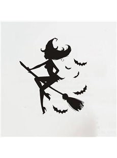 Halloween Beauty Witch on Broom Removable Wall Sticker