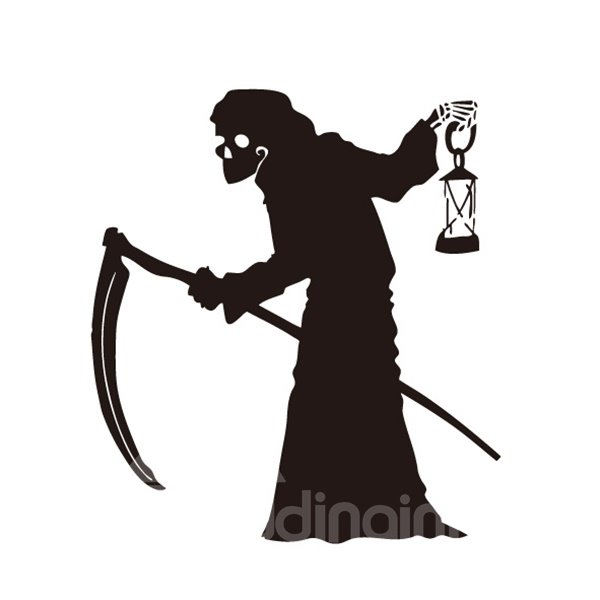 Halloween Evil Old Witch with Sickle Removable Wall Sticker
