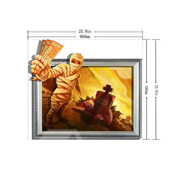 Halloween Scary Mummy Coming out of Tomb 3D Wall Sticker