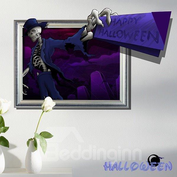 Happy Halloween Skeleton Man in Suits 3D Wall Sticker