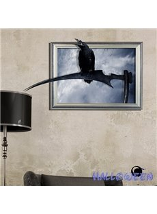 Halloween Black Crow Sitting on a Sickle 3D Wall Sticker