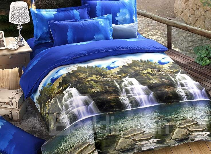 Waterfall Natural Scenery Print 4 Piece Duvet Cover Sets