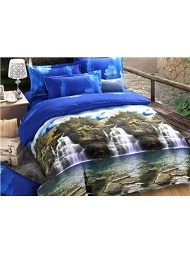 Waterfall Natural Scenery Print 4-Piece Duvet Cover Sets