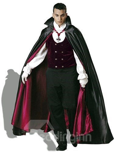 Faddish Medieval Style Halloween Vampire With Cape Costume