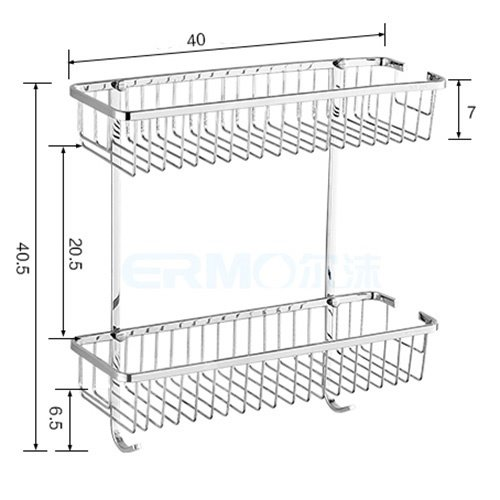 Concise Double-Layer Design Stainless Steel Made Bathroom Shelf