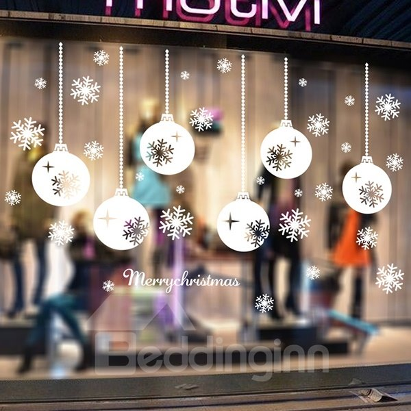 Festival Christmas Glass Decoration Snow Balloons Removable Wall Sticker