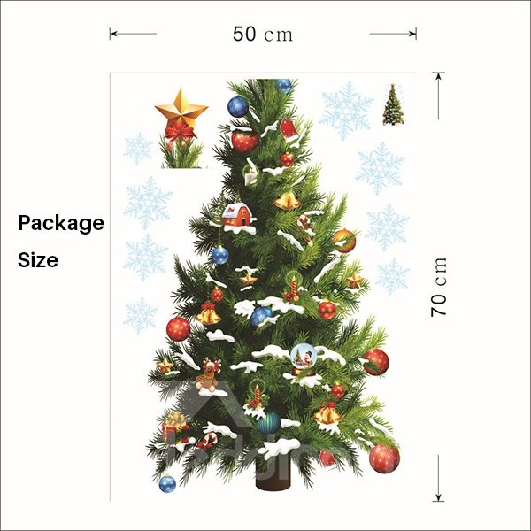 Festival Colorful Christmas Tree Home Decoration Removable Wall Sticker