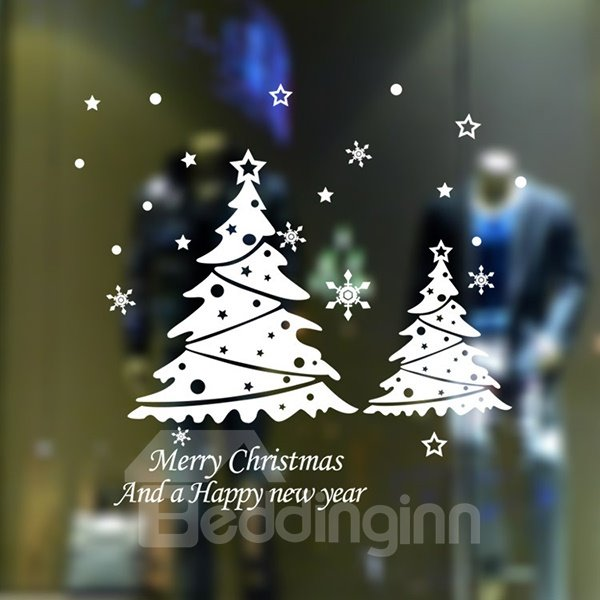 Festival Christmas Tree Glass Decoration Removable Wall Sticker