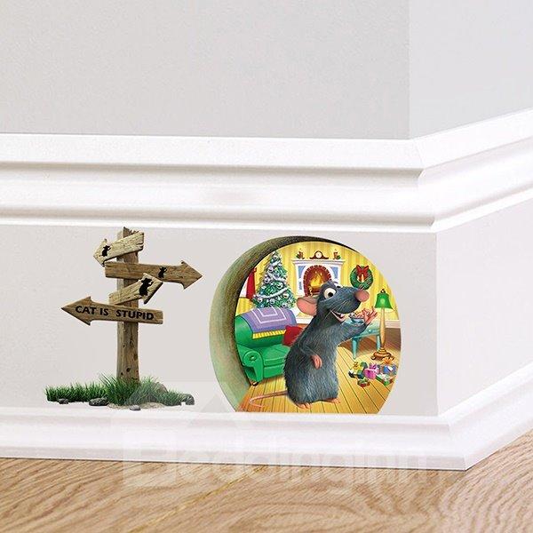 Creative Cute little Rat Celebrating Christmas Removable 3D Wall Sticker