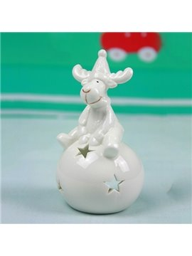 Lovely Smiling Reindeer Design Ceramic 2-Piece Candle Holder