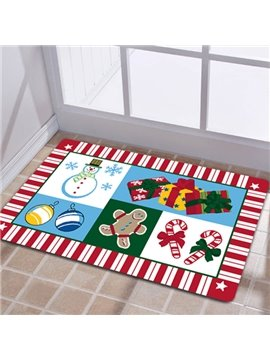 Festival Christmas Theme Snowman and Gifts Patchwork Anti-Slipping Doormat
