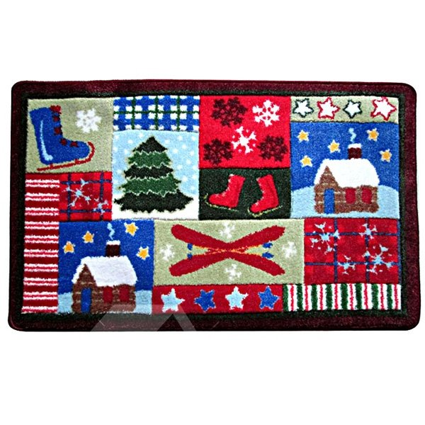 Christmas Theme Cottage and Tree Patchwork Anti-Slipping Doormat