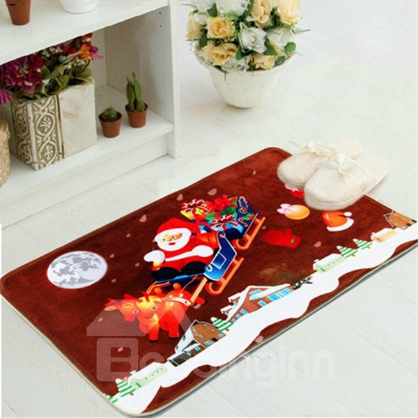 Festival Christmas Theme Santa Claus On Sledge Anti-Slipping Doormat