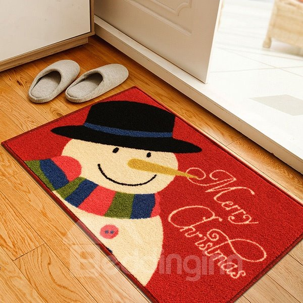 Festival Christmas Theme Cute Snowman Anti-Slipping Doormat