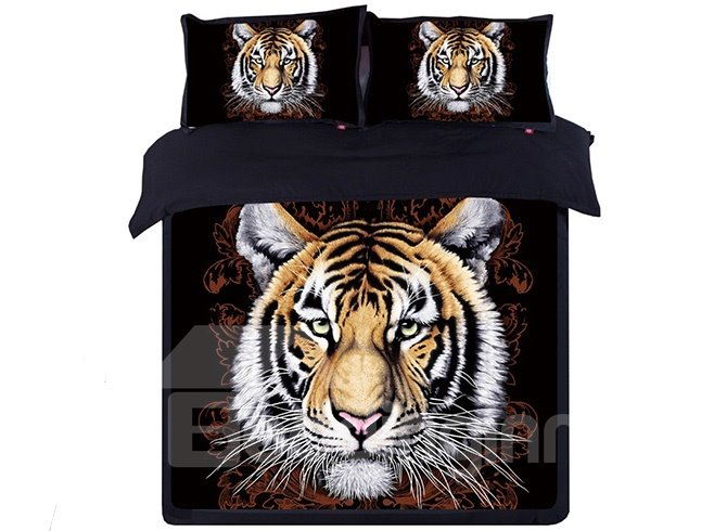 Stylish Tiger Head Print Black 4-Piece Cotton Duvet Cover Sets