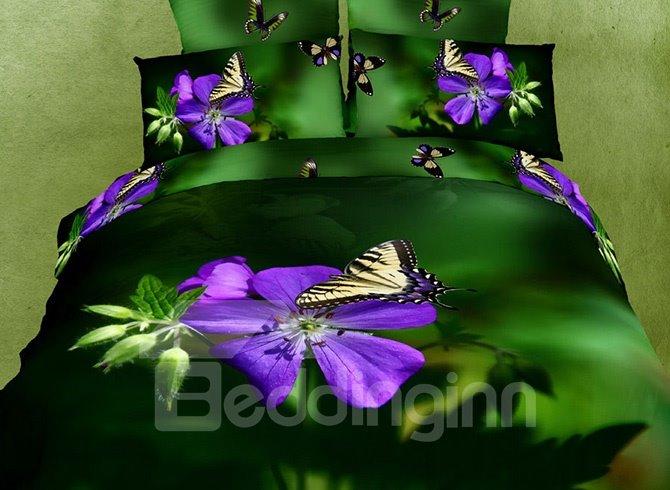 Fresh Purple Flowers Butterflies Print 4-Piece Cotton Duvet Cover Sets
