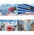 Gorgeous Pink Flowers Butterflies Print 4-Piece Duvet Cover Sets