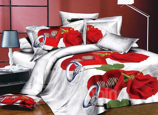 Romantic Red Rose Ring Print 4-Piece Duvet Cover Sets 11478555